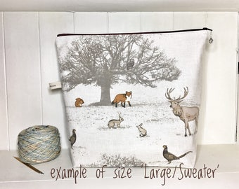 Enchanted Forest project bag, S/M/L  knitting bag, sock project bag, fox, stag, woodland theme, knitting bag, gift