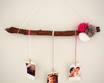 Mobile Deco Pompom and wood color in Trio (pink, gray, white)