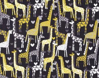 "Fabric Remnant - Giraffe Love Gray - Michael Miller Fabrics - 2.5""x40"""