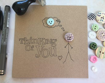 Button card. Thinking of you card. Missing you. I Love you card. Blank card. Wooden button. Friendship card. Card for friend. Cards for him.