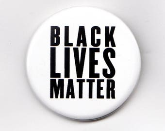 "10 Pack Black Lives Matter Buttons - White 1.5"""