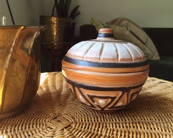 Tribal/ Aztecan Engraved Pottery/ Clay Storage Bowl with Lid