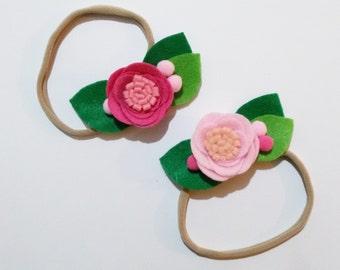 Τσόχινο λουλούδι σε headband (κορδέλα)/Baby Girl, Toddler, Girls Felt flower Headband