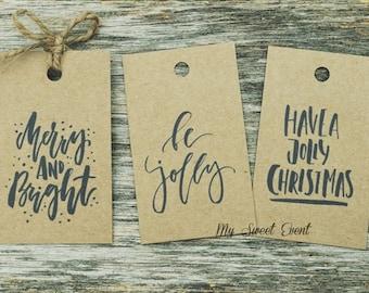 Christmas Gift Tags, Printable Christmas Tags, Favor Tags, Christmas Tags,  Instant Digital Download, Christmas Typography Quote Tags