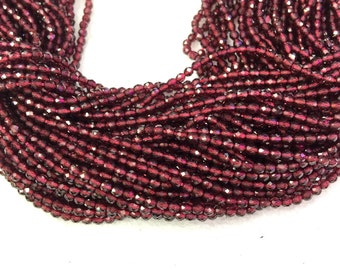 Garnet Faceted Beads 2mm 3mm 4mm Round AAA Grade Natural Red Garnet Gemstones Beads Spacer Tiny Faceted Beads Red Semi Precious Small Beads