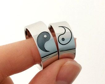 Ying Yang Couples Rings in Sterling Silver Metal, Ying Yang Band Ring, Matching Wedding Bands, Couples Rings, Feng Shui Symbol Ring