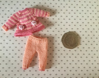 Dolls house Miniature 1/12th knitted baby doll Dress and leggings set