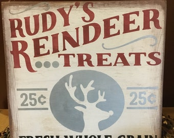 Rudy's Reindeer Treats wood hand painted stenciled 12x12 wood sign, Christmas, Sale
