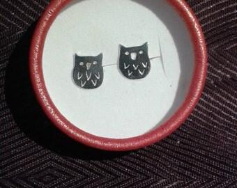 Little owl silver earrings