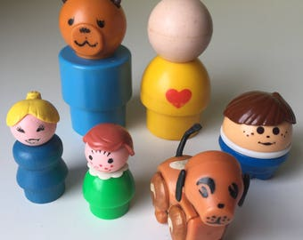 Vintage Fisher Price Little People figures (multiple generations)