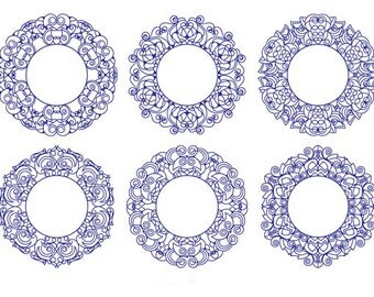 Blue Frames Clip Art Set, Collection, Digital, Design Element, Decorative