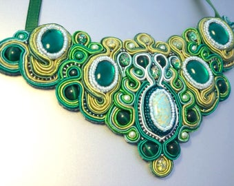Handmade green soutache necklace