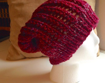 Slouchy hat/handknit slouchy hat/burgundy knit hat/hand knit hat