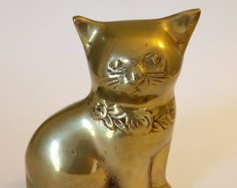 Vintage Brass Cat Figurine 2 Cats Available