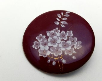 Tiny White Flowers on Red Burgundy Painted Enamel on Metal Brooch Vintage from the 90s Summer Spring Mother's Day gift for her Baby's Breath