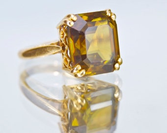 Vintage 9.50 Carat Rutile Solitaire in Beautiful Solid 18k Yellow Gold Ring WOW!