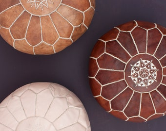 3 mixed Leather Moroccan Pouf, Moroccan Leather pouf ottoman with top embroidery available in colors