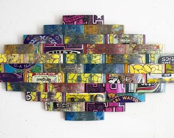 Recycled Skateboard Art, Skateboard Collage, Skateboarding, Skateboard Art, Recycled Wood, Decorative Skateboard Art