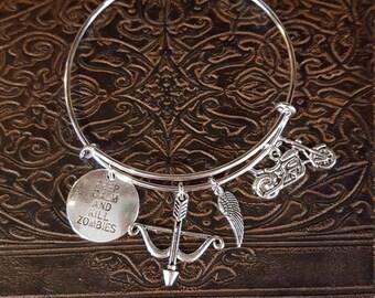 Silver bangle bracelet- zombie