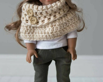 Handmade crochet cowl with button accents for 18in dolls such as American Girl,Our Generation,and My Life