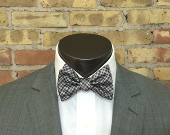 Red and Gray Plaid Silk Bow Tie