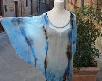 Silk shirt hand painted, hand made Silk Shirt, Silk Blouse, Made in Italy, Blue Shirt, Silk fabric, Handmade, One size Silk Shirt