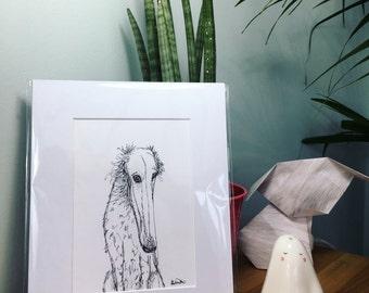 Borzoi Original art, Russian Wolfhound drawing, Borzoi Sketch, Russian Wolfhound sketch, Borzoi gift, Russian Wolfhound gift, Wolfhound art,