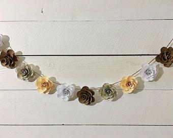 Handmade Sheet Music Paper Flower Garland- 9 ft.