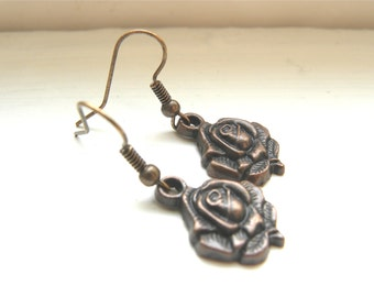Free Shipping Within USA Handmade Antique Rosegold Rose Long Drop Dangle Earrings