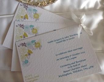 Blooms A6 Postcard Wedding Invite - SAMPLE