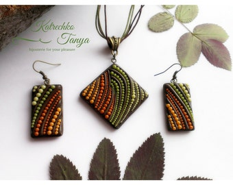 FREE EARRINGS. Brown forest jewelry set.  Wood style pendant, earrings. Wood look pendant. Jewelry stores