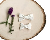 Elsie Hand Tied Bows in Ivory, Girls School Girl Hair Bow