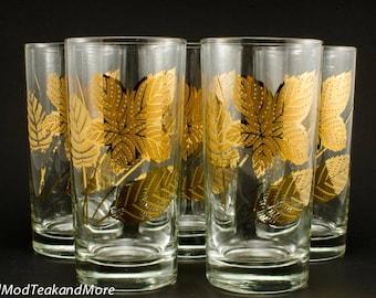 vintage 22 kt gold leaf glasses libbey glassware - Libbey Glassware