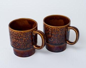 Vintage Set of 2 Brown Floral 1970s Stacking Coffee Mugs Made in Japan