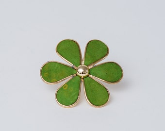 Vintage Large Green Suede Flower Pin with Gold Trim 1970s