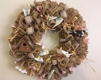 Rustic Burlap Wreath Bird Birdhouse Pink