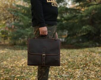 Brown Leather Messenger bag/ Leather Shoulder Bag/ Leather Briefcase / Leather School Bag/ Leather Mens Bag/ gift for him