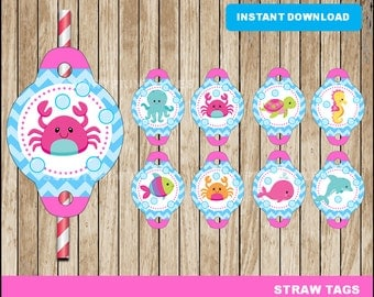 Under The Sea girl Straw Tags; printable Under The Sea Straw Toppers, Pink Under The Sea party Straw Tags instant download