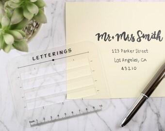 Letterings Envelope Address Addressing Stencil Ruler guide Template 2 Size Pack
