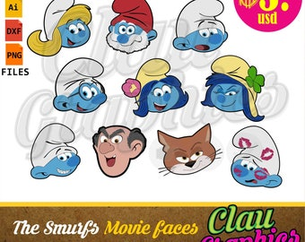 The Smurfs movie Faces clipart, SVG patterns, DXF files, PNG images and editable files, cute patterns for all your projects