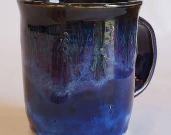 Wheel thrown, handmade, blue ceramic mug