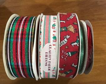 Lot of 5 vintage Christmas ribbon