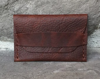Brown Kodiak Oil Tanned Leather Strap Wallet Card Case