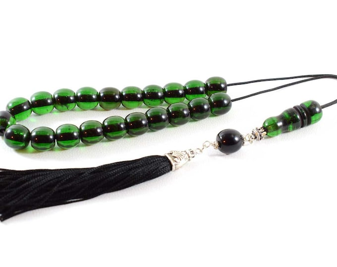 Emerald color Bakelite Beads Komboloi, Handmade Tassel, Worry Beads, Greek Komboloi, Stress Relief, Relaxation, Meditation, Gift for Him