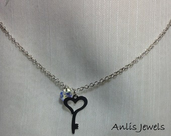 Necklace Chain with pendant key heart sterling silver 925 italian with Swarovski crystal  Clear Aurora Borealis (AB)