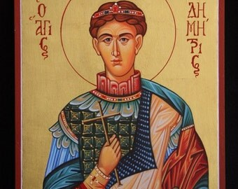 Saint Demetrios Greek Orthodox Icon, Byzantine Icon, handmade original art with 22k gold leaf Christian art