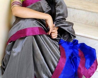 Gray Silk Saree