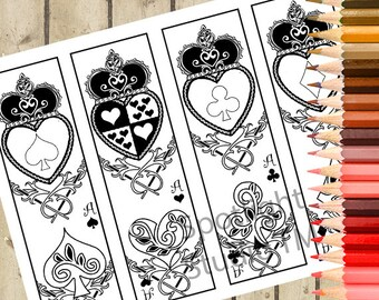 Playing Card Printable Bookmarks - 4 Printable Adult Coloring Bookmarks Color It - Alice Bookmarks DIY - Heart Digital Bookmarks DOWNLOAD