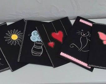 Handmade blank greeting cards.
