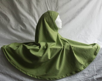 Green 2 piece, cotton jersey elbow-length khimar